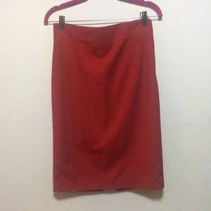 Red/orange pencil skirt